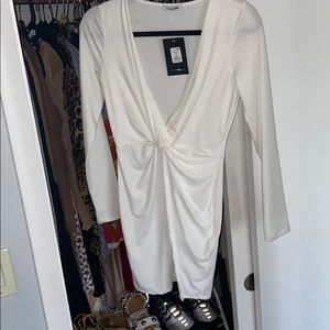 Mini white deep plunge Neck dress